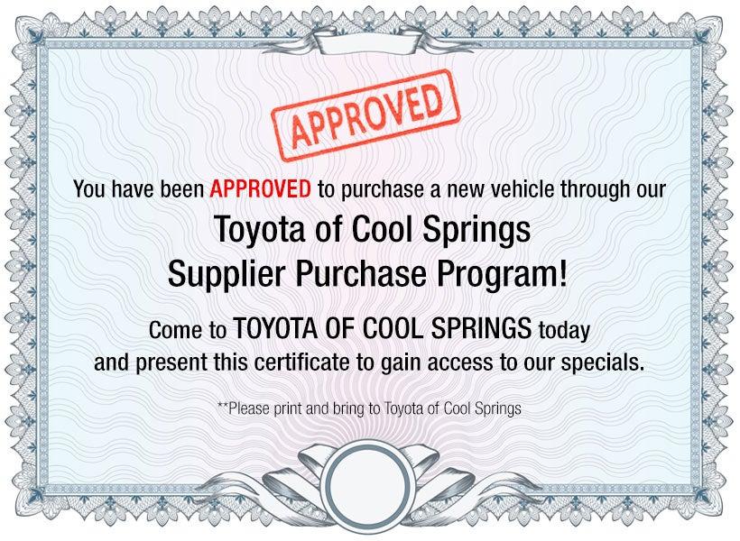 Toyota of Cool Springs Dealer/Partner Purchase Program